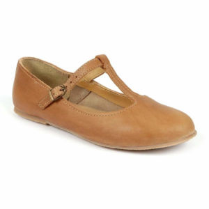 Ladies Katie T-Bar Leather Shoe – Caramel